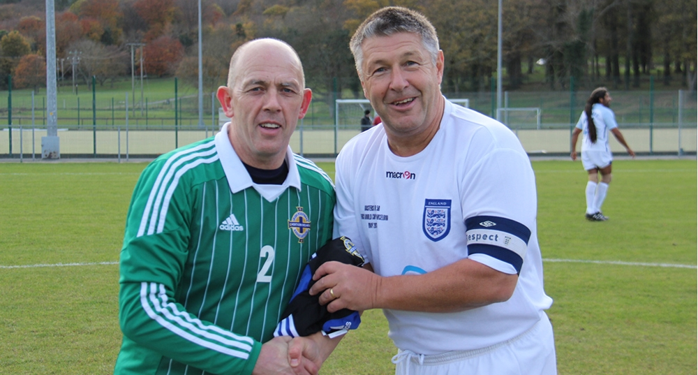 651205e873202 Northern Ireland Veterans played England in an Over 50's international game  at Bear Park in Newcastle Co. Down at the weekend.