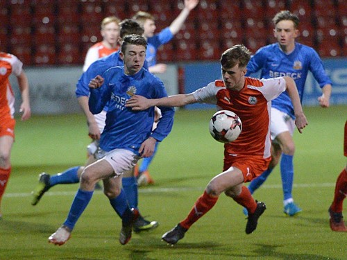 Action from the Harry Cavan Youth Cup semi-final between Cliftonville Strollers and Glenavon Youth at Seaview.jpg