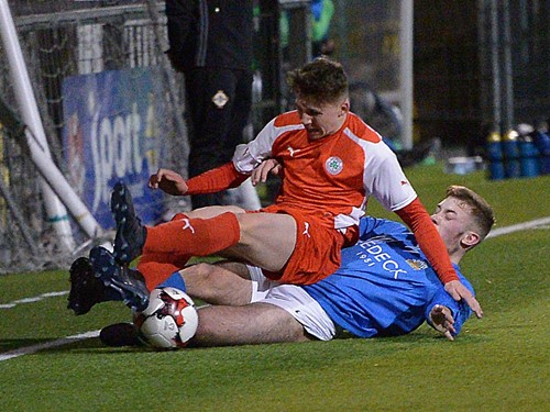 Action from the Harry Cavan Youth Cup semi-final between Cliftonville Strollers and Glenavon Youth at Seaview.jpg (1)