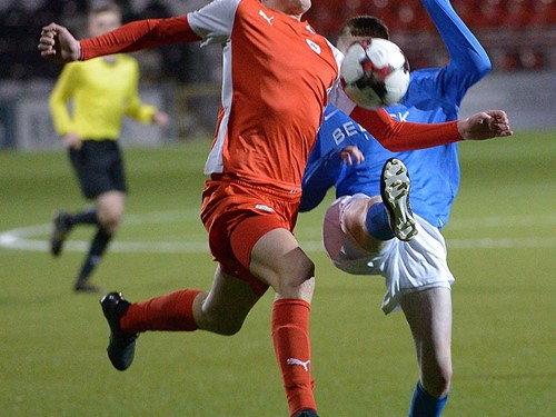 Action from the Harry Cavan Youth Cup semi-final between Cliftonville Strollers and Glenavon Youth at Seaview.jpg (2)
