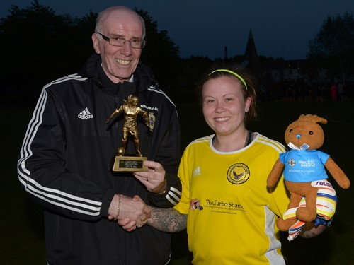Trevor Hogg and Player of the Match Leanne Glass of Chimney Corner ladies.jpeg