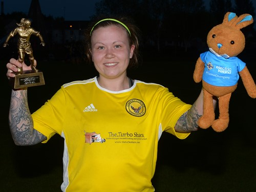 Player of the Match Leanne Glass of Chimney Corner ladies with Trophy and Bunny.jpeg