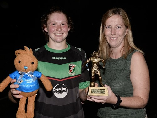 Glentoran,s Caragh Milligan recieves her Player of the Match trophy from IFA Challenge Cup Committee Chairwoman Elaine Junk.jpg