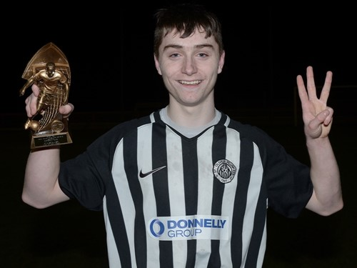 Harry Cavan St Oliver P MOM and 3 goal hero Calvin McCurry with his Trophy .jpg