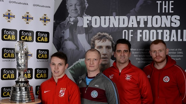 James Turley (Enniskillen Rangers), Gerard McCullagh (Tummery Athletic), Ben Treanor (Bessbrook) and Eamon Hughes (Willowbank).jpg