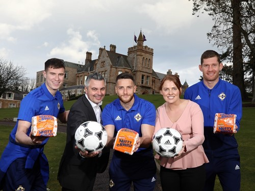 Paddy McNair, Gary Mason Irwin's Bakery, Conor Washington, Ruth Sloan Irwin's Bakery, Michael McGovern.JPG