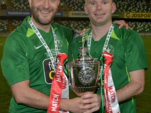 Crumlin Star Captain Barry McKervey and Goalscorer Paul Prigent with the trophy.jpg