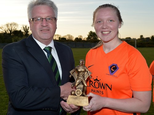Neil Morrow of the Women's Irish Challenge Cup Committe with 'player of the match' Hollie Johnston.jpg