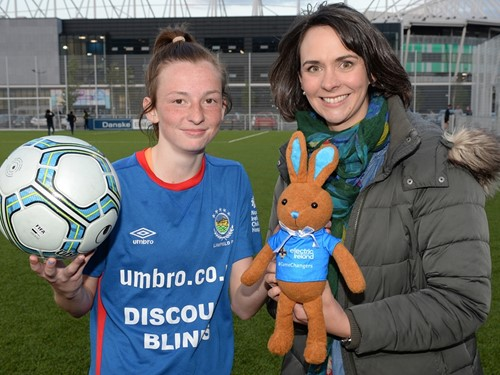 Player of Match and Hattrick hero Caitlin McGuinness of Linfield Ladies with Anne Smyth Sponsorship and PR of Electric Ireland.jpg