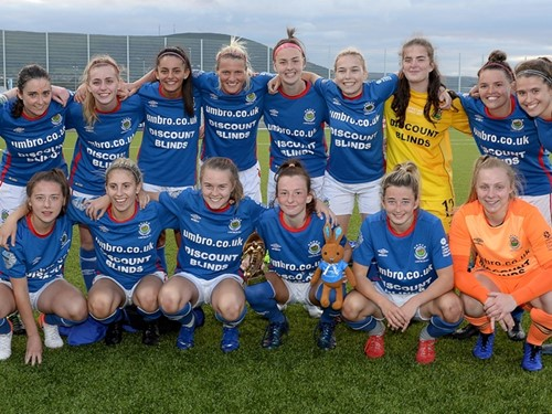 Linfield Ladies Celebrate after their 3-1 Victory over Sion Swifts Ladies.jpg