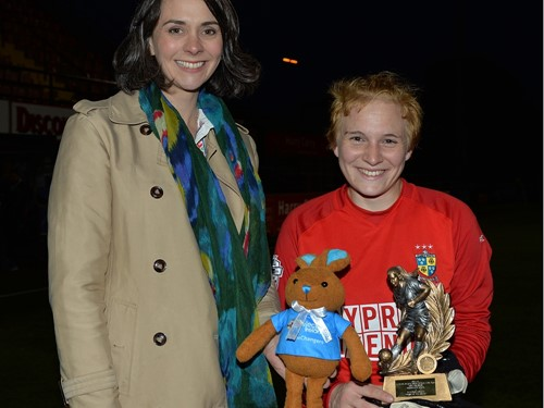 Player of Match Leigh Skelton of Comber Rec Ladies with Anne Smyth Sponsorship and PR of Electric Ireland.jpg