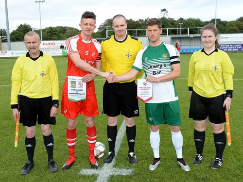 Enniskillen Rangers captain Richard Johnstone and St Michaels captain Colin Bargary with officials.jpg