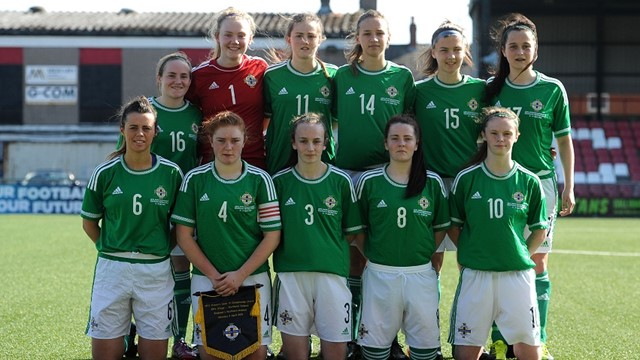 NI U19 Women team photo v England 6 April 2015