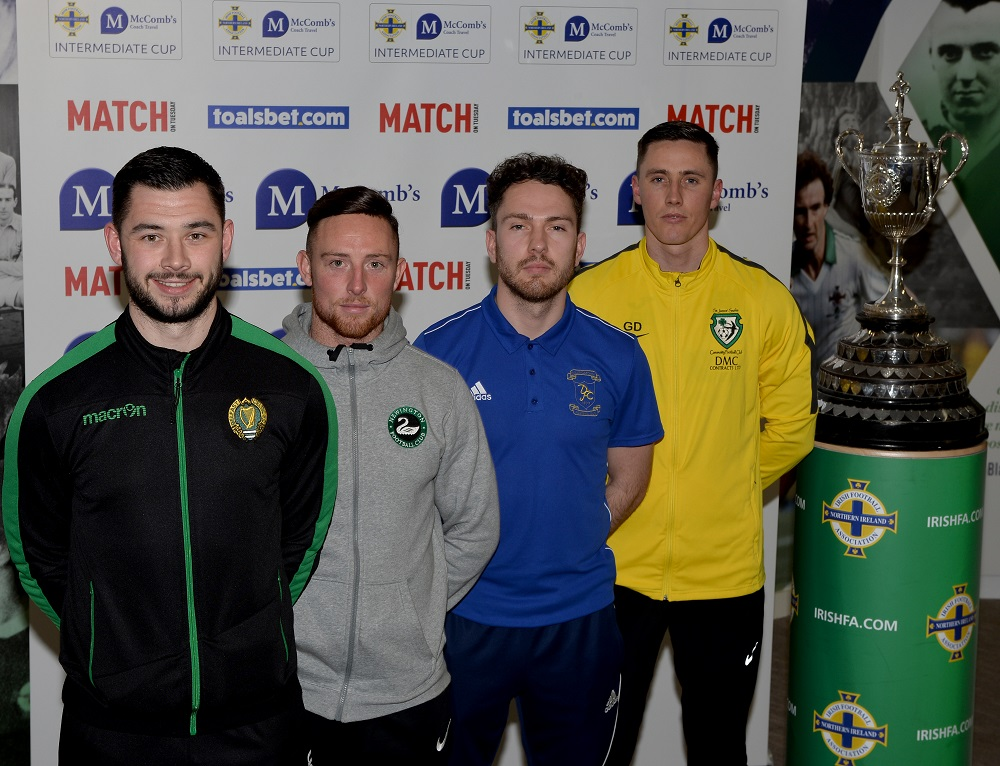 John morgan (Belfast Celtic), Anthony McGonnell (Newington), Nathan McConnell (Dollingstown) and Gary Dorrian (St James Swifts).jpg