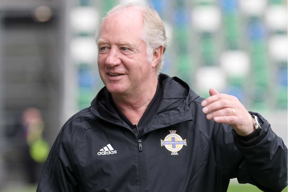 Jimmy Nicholl at the National Football Stadium at Windsor Park.jpg