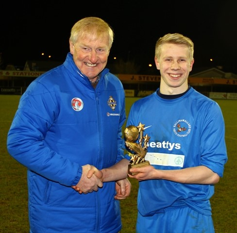 Ballinamallard United Youth's Gareth Carrothers receives his Man of the Match