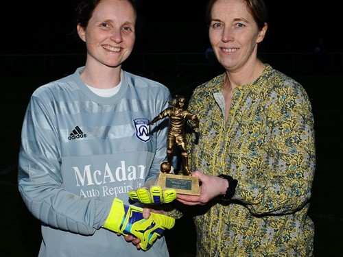 Ambassadors Keeper and Elaine Junk with Player of the Match Trophy.jpg