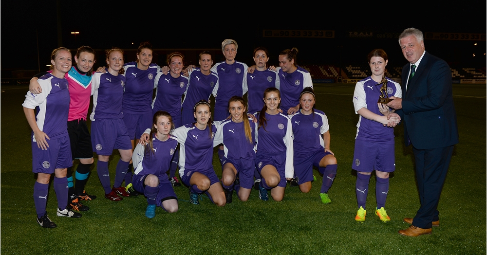 Neil Morrow and Player of Match Celine Curtis and Cliftonville Ladies Team.jpg